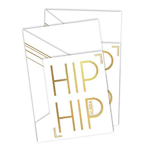 X047 Carte d'anniversaire Hip Hurra Blanc avec gaufrage feuille d'or | Bon d'achat ou carte de félicitations pour anniversaire, examen, etc. à poser sur pied Effet 3D