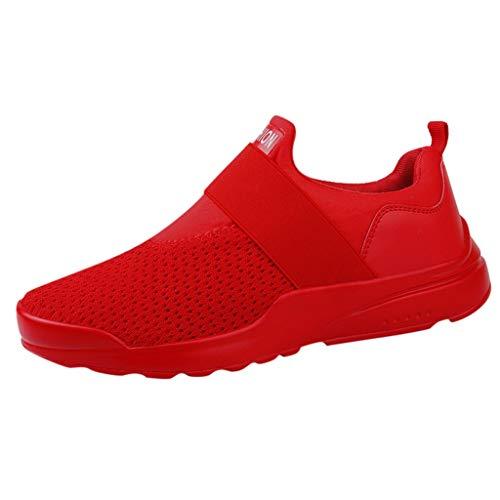 Zapatillas Verano Hombre Lanskirt Calzado Hombres Casual de Carta de Moda Sólido Elástico Correr Deporte Tobillo Plano Punta Redonda Zapatos Casuales