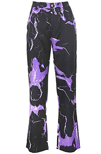 JianFeng Womens Lightning Cargo Pants Zip Up Wide Leg Trousers with Pocket Purple