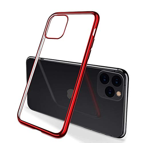 E NET-CASE iPhone 11 Pro Max Case Clear Cover Silicone Slim Rugged Full Body Protection for iPhone 11 Pro Max 6.5 inch 2019, Anti-Scratch HD Display Phone Screen Protector (Red)