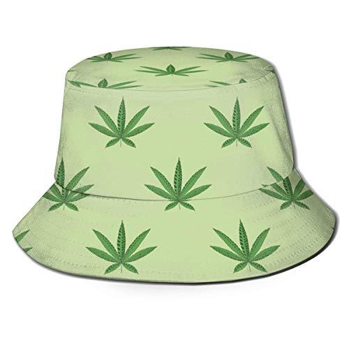 ENZOOIHUI Sombrero de Cubo de patrón de Hoja de cáñamo Sombrero de Sol Unisex Sombrero de Pescador Impreso Paquete de Viaje Sombrero de Moda al Aire Libre
