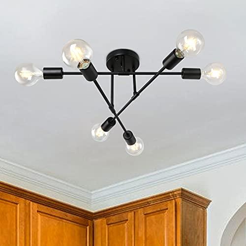 LynPon Lámpara de techo industrial negra con 6 brazos, ajustable, vintage, Sputnik, lámpara de araña semiempotrada para dormitorio, sala de estar, comedor
