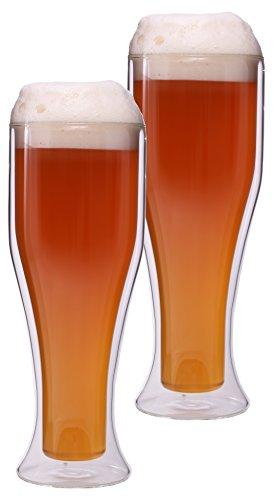 Feelino 2X 500ml doppelwandige Weizenbiergläser für 300ml Ladyweizen, Biergläser, Doppelwandgläser, Thermogläser, hält kalte Getränke länger kalt, Weizenlady