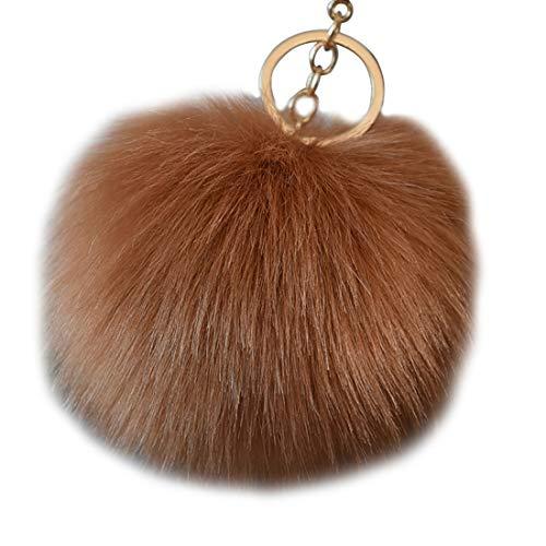 chlüsselanhänger mit Legierung Haken Künstlicher Nachahmung Fuchs Haarkugel für Handtasche Plüsch Anhänger(Schokolade)