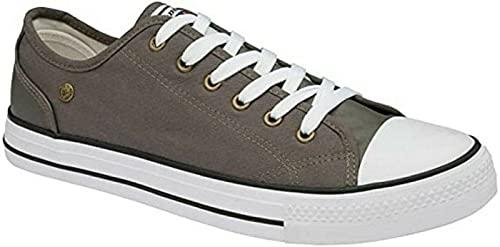 Herren-Turnschuhe, Leinen, Schnürschuhe, Freizeitschuhe, modische Skaterschuhe, Grau - grau - Größe: 44 EU