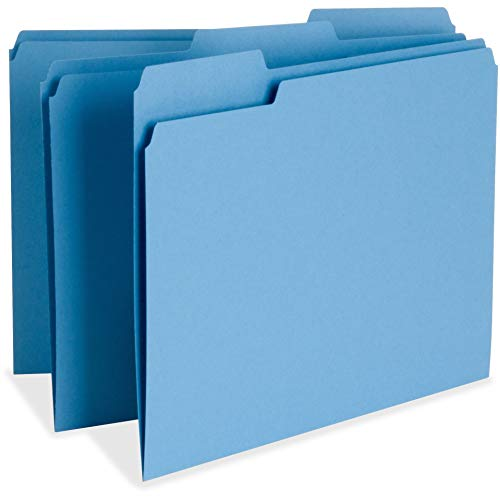Business Source Color-Coding Top Tab File Folder - Letter - 8.50quot; Width x 11quot; Length Sheet Size - 1/3 Tab Cut - Assorted Position Tab Location - 11 pt. - Blue - 100 / Box