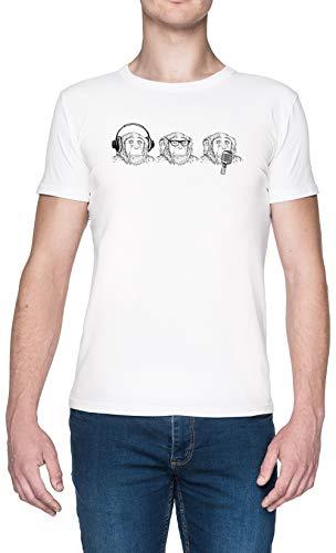 Oír Mal Ver Mal Hablar Mal Blanca Hombre Camiseta Tamaño XXL White...