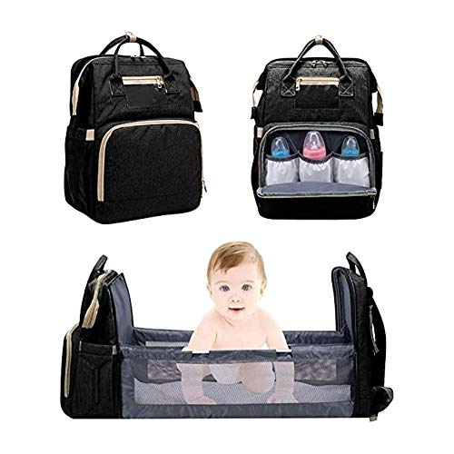 SADWF 5 In 1 Travel Bassinet Foldable Baby Bed,Travel Crib Infant Sleeper,Portable Diaper Changing Station Mummy Bag Backpack,Baby Nest with Mattress (Color : Black)