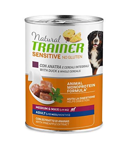 Trainer Natural Sensitive No Gluten Medium Maxi Cibo Umido per Cani con Anatra e Cerali Integrali, 12 x 400G - 3.6 kg