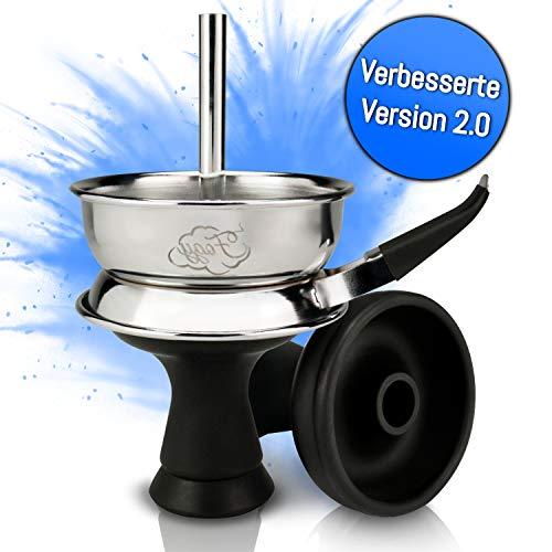 Shisha Kopf Set mit Kaminaufsatz - Hochwertiger Silikonkopf für dichten Rauch - Einfacher Kopfbau dank Phunnel Silikon Kopf - Selbstdichtender Shishakopf mit V2A Edelstahl Kamin - Shisha Zubehör