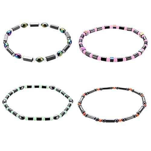 Healifty 4 pulseras de tobillo para mujer, hematita magnética, elegante acrílico rebordear pie joyería decoración cadena