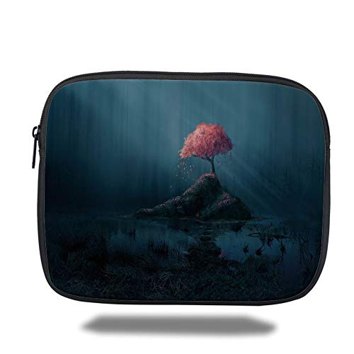 Preisvergleich Produktbild Laptop Sleeve Case, Dark Blue, Lonely Pink Sakura Tree in Mysterious Forest Sunbeams Marsh Rock, Dark Blue Light Blue Pink, Tablet Bag for Ipad air 2 / 3 / 4 / mini 9.7 inch