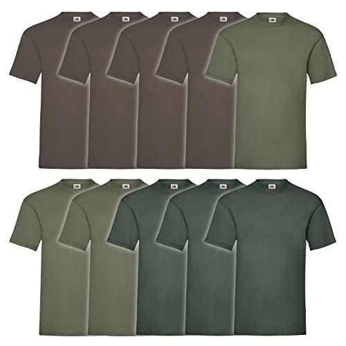 10 Fruit of the loom T Shirts Valueweight T Rundhals S M L XL XXL 3XL 4XL 5XL Übergröße Diverse Farbsets auswählbar (2XL, 4 Schoko / 3 Olive / 3 Flaschengrün)