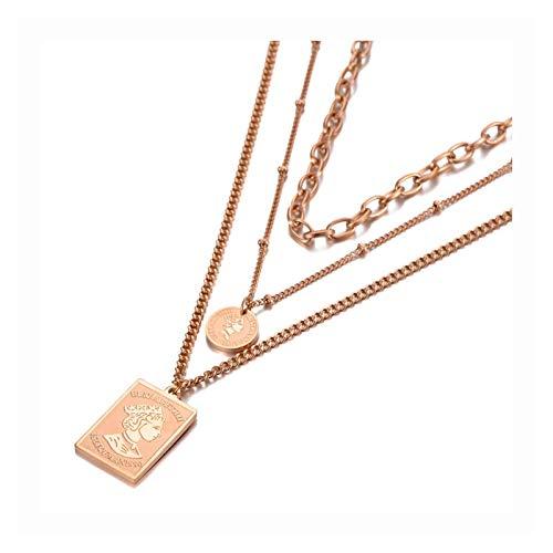 HYL0 Dreischicht Königin Charm Anhänger Halsketten Titanium Edelstahlketten Chaker Halskette für Frauen ZZBiao (Color : Rose Gold Color)