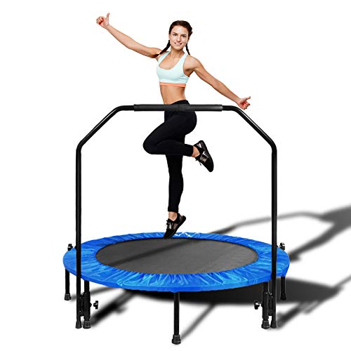 MOVTOTOP Foldable Mini Trampoline Rebounder, Indoor Fitness Trampoline with Handrail and Safety Pad, Exercise Trampoline Rebounder for Kids Adults Indoor/Garden Workout (Blue, 48 Inch)