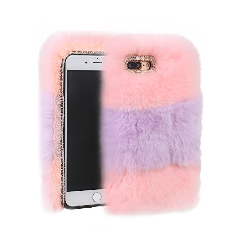 AiKeDuo Funda para iPhone 6s 7plus 8plus 3 colores costura moda lujo lindo colorido peludo pelo de conejo invierno cálido felpa mullida piel caso suave TPU (rosa, iPhone 6plus/6s Plus)