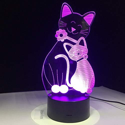 Joli Chat Kitty Led Lampe Usb 3D Lampe 7 Couleurs Tactile Chambre Lumières Ambiance Décoration Lumière Nouveauté Cadeaux