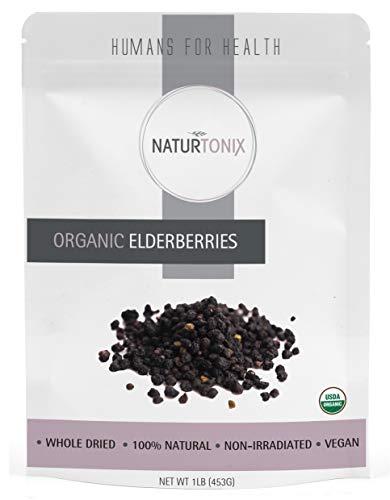 Dried Elderberries, Usda Certified Organic, Dried Elder Berry Sambucus Nigra, 1 Pound Resealable Fresh Pouch