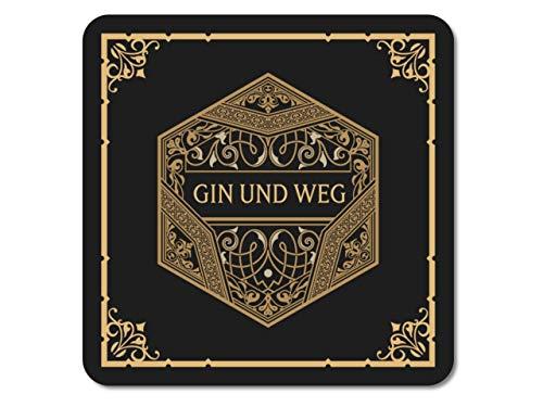 Interluxe leuchtender LED Untersetzer - Gin und Weg - Geschenk oder Tischdeko für Gin-Tonic, Geburtstag, Party
