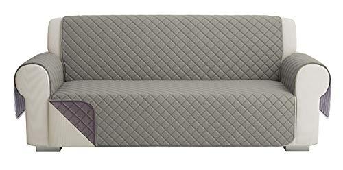 Fundas para Sofa Acolchado, Funda De Sofas 3 Plazas (170 CM), Cubre Sofa Reversible Bicolor, Gris / Gris Oscuro