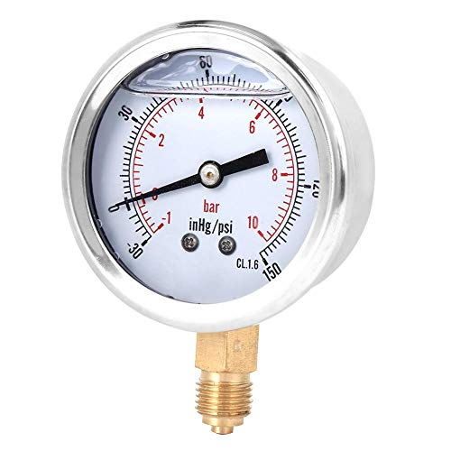 1 / 4BSP Radialmanometer Hochempfindliches Vakuummeter Transparente Zifferblattabdeckung für Erdölmaschinen