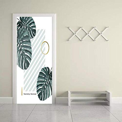Sticker muurprint kunstwerk 3D deur sticker flamingo's plant afbeelding zelfklevend waterdicht milieuvriendelijk eenvoudige wooncultuur 77 * 200 cm
