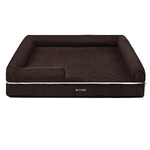 FEANDREA Large Dog Bed, Orthopedic Dog Sofa, Memory Foam Dog Mat, Removable Cover, Waterproof, Machine Washable, Anti-Slip, Raised Edges, 30 x 19 x 7 Inches, Espresso UPGW066K01