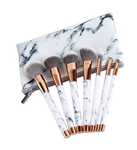 Kit de pinceaux de maquillage Fondation professionnelle Smudge Contour des lèvres Ombre à paupières Sourcils Poudre de cils duveteuse Mélange avec un sac à fermeture éclair,MarblePattern,7pieces
