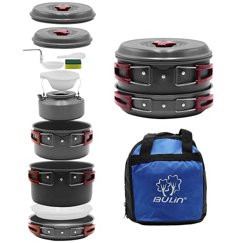 Bulin 13 Pcs Camping Cookware Mess Kit, Nonstick Backpacking Cooking Set, Outdoor Cook Gear for Family Hiking, Picnic Lightweight Cookware Sets