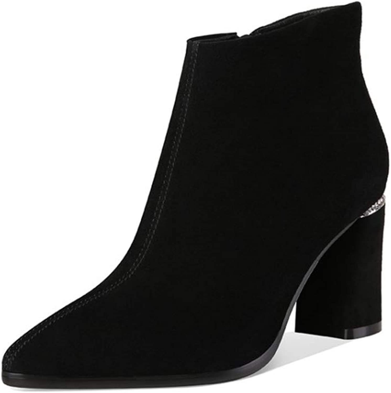 Women's Booties, Suede Fall Winter Boots Chunky Heel Round Toe Ankle Boots Velvet High Heel Pointed Martin Boots (color   Black, Size   38)
