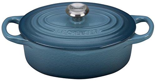 Le Creuset LS2502-176MSS Signature Enameled Cast-Iron Oval French (Dutch) Oven, 1 quart, Marine