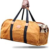 GALAFIRE Log Carrier for Firewood, Waxed Canvas Durable Fireplace Wood Holder Tote Bag, 23'' × 10''x 11.3''
