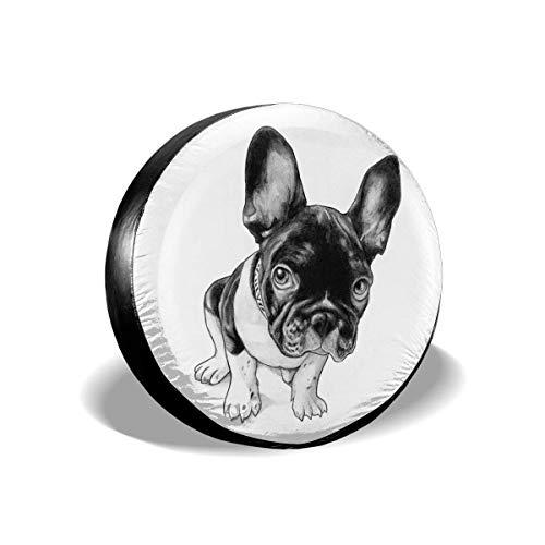 N\A Cubierta de neumático de Repuesto de Bulldog francés de Cuero de PVC Cubierta de neumático de Rueda a Prueba de Polvo Impermeable para Todos los Coches