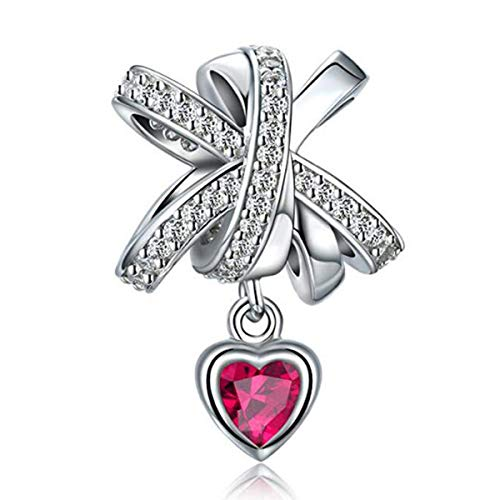 Ciondolo a forma di acchiappasogni, in vero argento Sterling 925, con ali di angelo e zirconia cubica, per braccialetti e Argento, colore: Collana con ciondolo a forma di fiocco., cod. YS-676