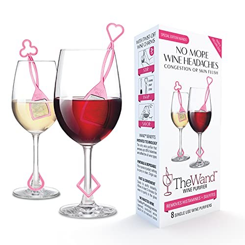 PureWine Wand Purifier Filter Stick Removes Histamines and Sulfites - Reduces Wine Allergies & Eliminates Headaches, Aerates Restoring Taste & Purity (8 Pack, Pink)