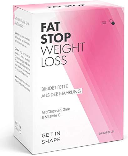 Fat Stop - 60 Stück Fettblocker - reduzierte die Fettaufnahme aus der Nahrung (Chitosan und Vitamin C) - von Get in Shape