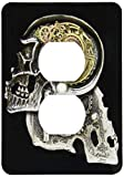 Duplex Receptacle Outlet Wallplate 1 Gang Outlet Covers Steampunk Gothic Faux Metal Skull Image Classic Beadboard Wall Plate Decorator Unbreakable Faceplate