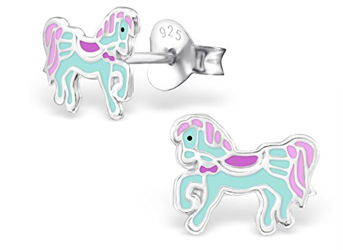 Hypoallergenic Sterling Silver Teal & Purple Royal Pony Stud Earrings for Little Girls (Nickel Free)