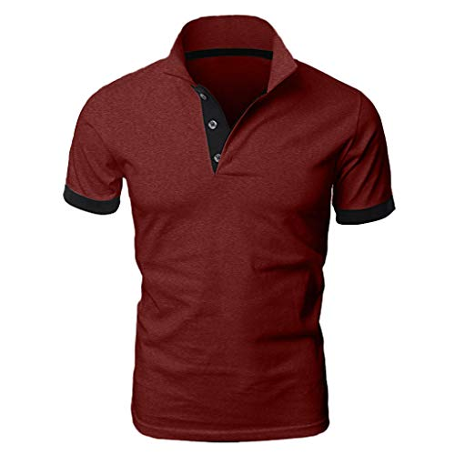 Yowablo Herren Poloshirt Polo Polohemd Kurzarmshirt Shirt Basic Mode Patchwork Shirt Double Color T-Shirts Top Blusen (XL,Weinrot)