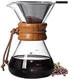 Pour Over Coffee Maker,Reusable Glass Coffee Pot Manual Dripper Brewer Hand Drip with Stainless Steel Filter for Home Travel (14 oz/400 ml)