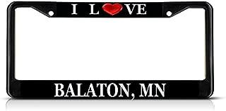 Sign Destination Metal Insert License Plate Frame I Love Heart Balaton, Mn Weatherproof Car Accessories Black 2 Holes Solid Insert 1 Frame