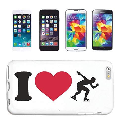 Bandenmarkt telefoonhoes compatibel met iPhone 4 / 4S I Love schaatsen ijs schaatsen schaatsen schaatsen schaatsen schaatsen hardcase beschermhoes mobiele telefoon