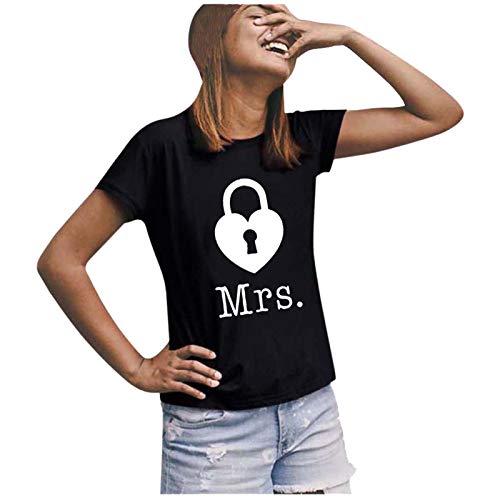 t Shirt Damen Shirt Damen T-Shirts Frauen Paare Liebhaber Valentinstag Kurzarm Liebesbrief Print Tops (XXL,4Damen-Schwarz)