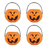 MINGZE Cubo de Calabaza de plástico de Halloween, para niños de Halloween Accesorios Decoraciones Barril del Caramelo Fiesta Conteniotre de Dulces (Pequeño, 4 Piezas)
