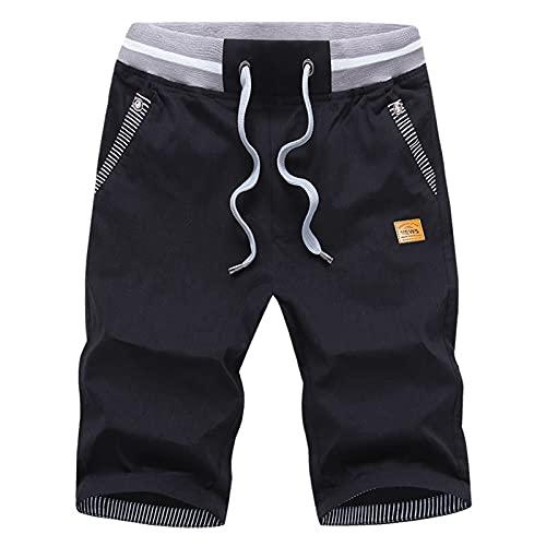 Leezepro Pantalones Cortos para Hombre Pantalón de Entrenamiento Pantalones Cortos Casuales(XL, Negro)