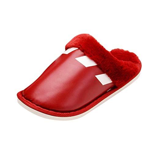catmoew Pantoffeln Unisex Hausschuhe Damen Herren Filz Plüsch Slipper Baumwolle Indoor warme rutschfeste Winter Hausschuhe Herren Wärme Pantoffeln
