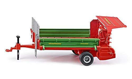 SIKU 2895, Strautmann Ein-Achs-Streuer Anhänger, 1:32, Metall/Kunststoff, Grün/Rot, Bewegliche Zahnräder