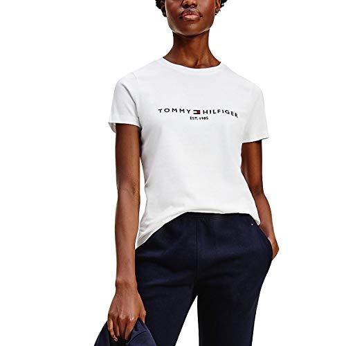 Tommy Hilfiger TH ESS Hilfiger C-NK REG tee SS Camiseta sin Mangas para bebés y niños pequeños, Blanco, M para Mujer