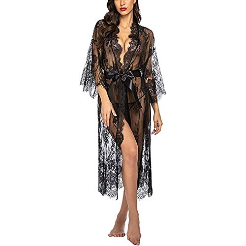 Yiyu Damen Dessous Kleid Lang Kimono Spitze Negligee Nachtwäsche Transparente Robe Set Cardigan Mit Gürtel Und G-String Bikini Cover Up x (Color : Black, Size : L)