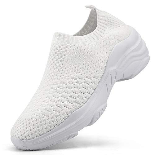 Air Zapatillas de Running para Mujer Zapatos para Correr y Asfalto Aire Libre y Deportes Calzado Ligero Sneakers, Blanco 1, 42 EU